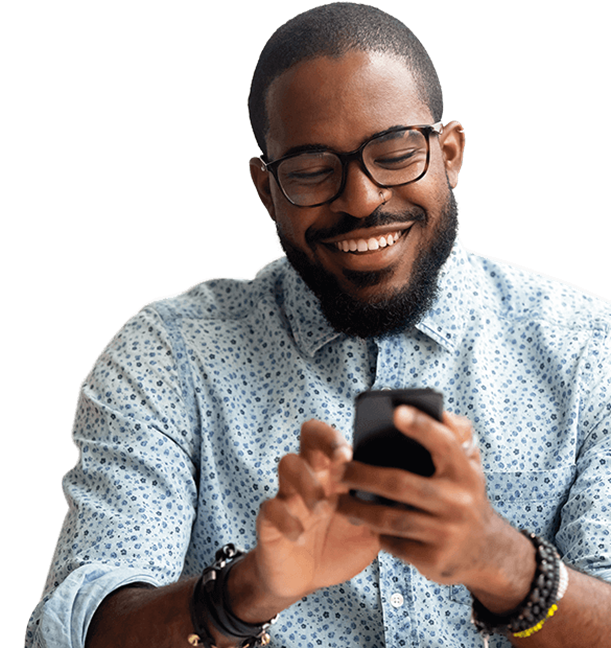 Smiling man with iPhone